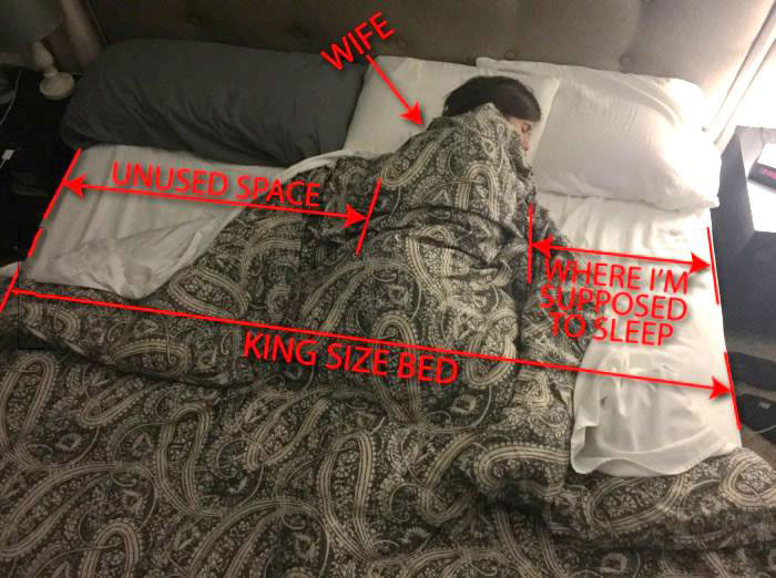 how our king sized bed should be used according to my wife