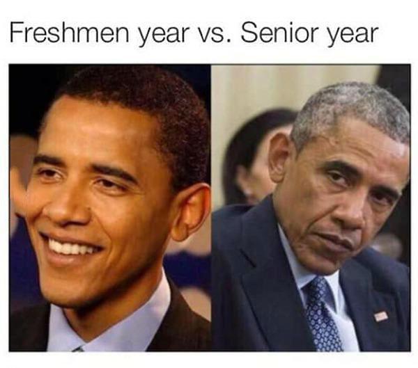 freshmen year vs senior year, president obama aging