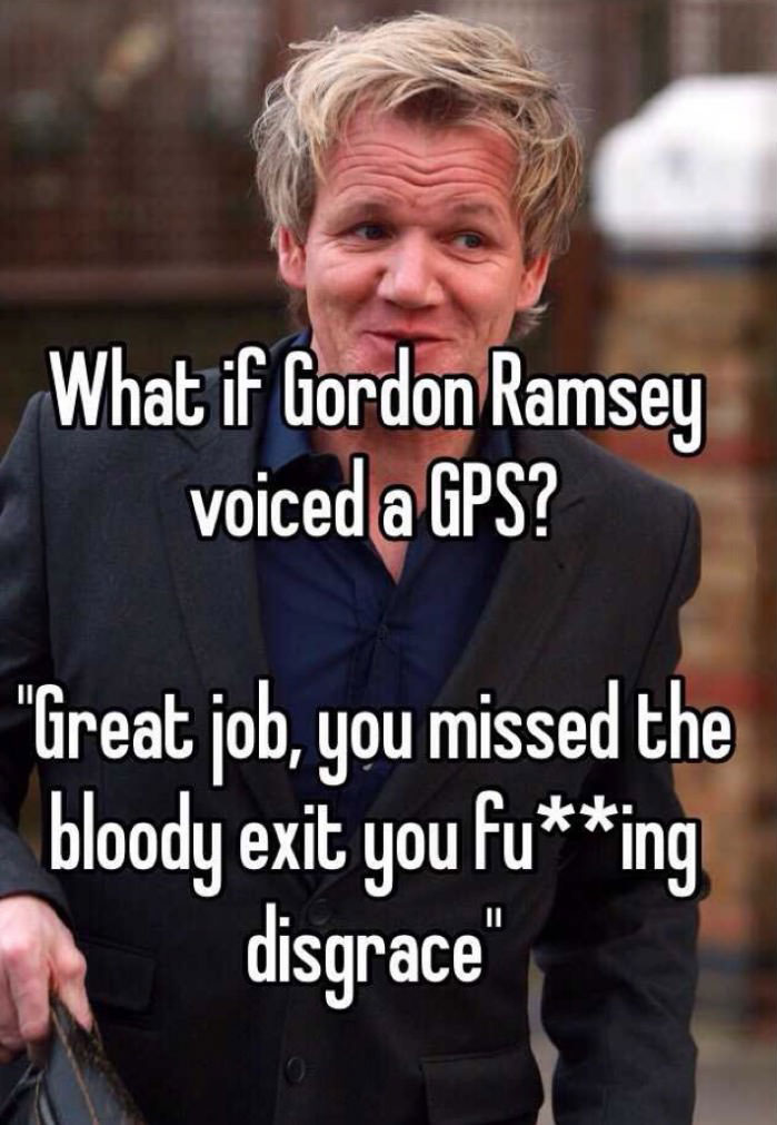 what if gordon ramsey voiced a gps, great job you missed the bloody exit you fucking disgrace