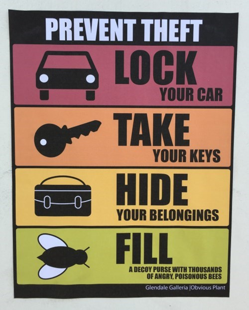 how to prevent theft, lock your car, take your keys, hide your belongings, bull a decoy purse with thousands of angry poisonous bees