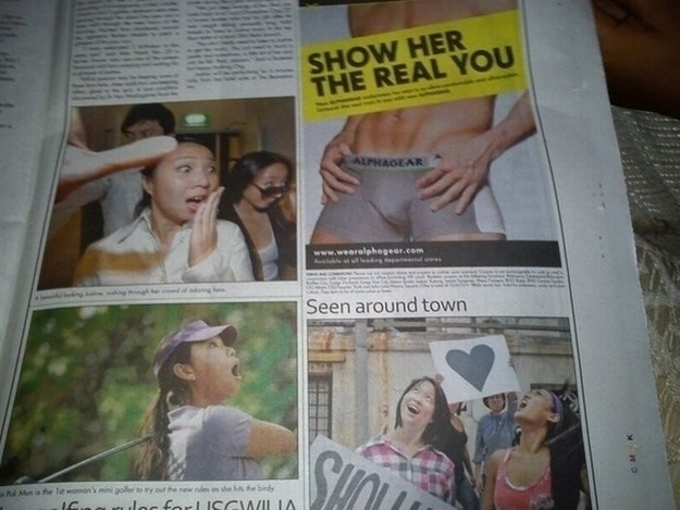 show her the real you, awkward newspaper photo placement
