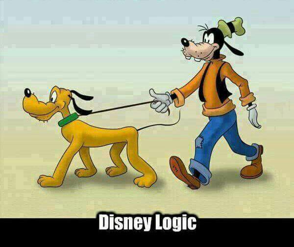 disney logic, a dog walking a dog