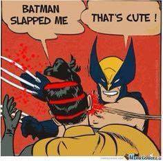 batman slapped me, that's cute, robin, wolverine
