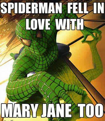 spiderman fell in love with mary jane too, meme