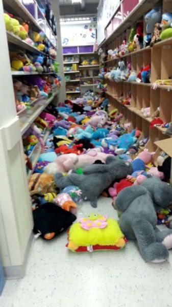 when you work in a retail store and really want to quit, stuffed animals all over aisle seven