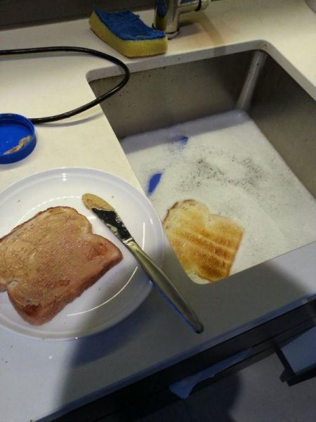 try not to cry when your toast falls in the sink