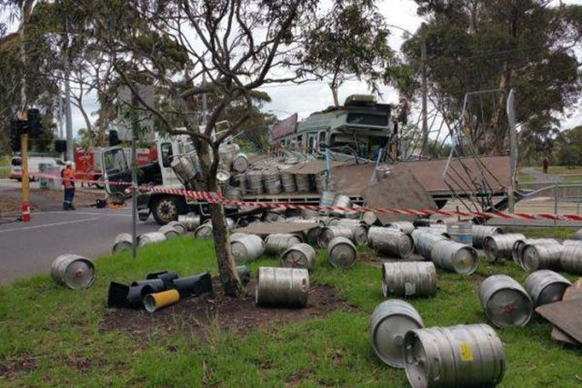 when one man's nightmare is another man's dream, truck full of kegs crashes