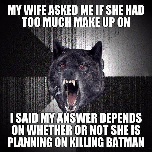 my wife asked me if she had too much make up on, i said my answer depends on whether or not she is planning on killing batman, insanity wolf, meme