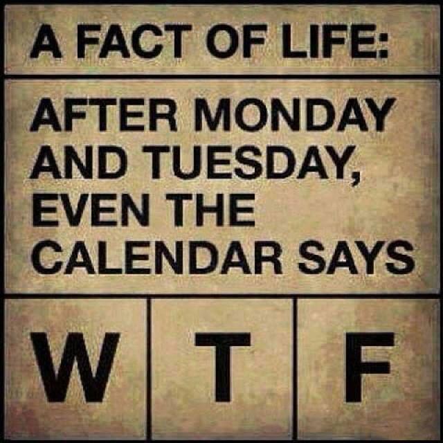 a fact of life, after monday and tuesday even the calendar says wtf