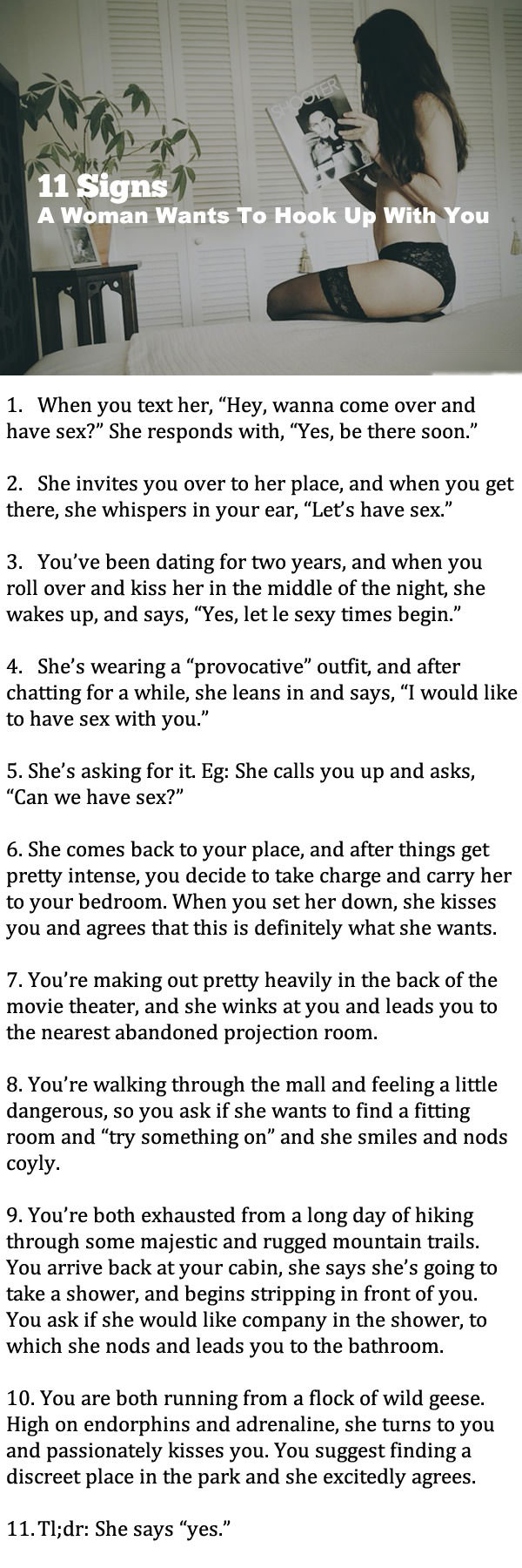 Signs that a woman wants sex