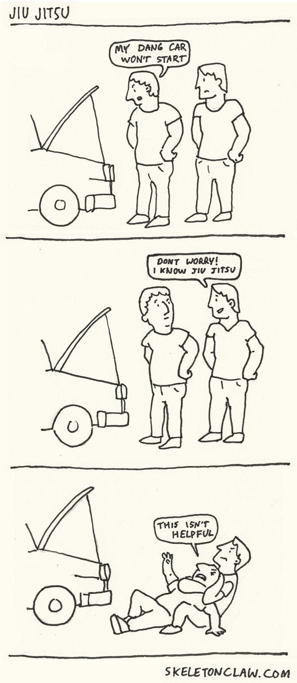 my dang car won't car, don't worry i know jiu jitsu, this isn't helpful, comic