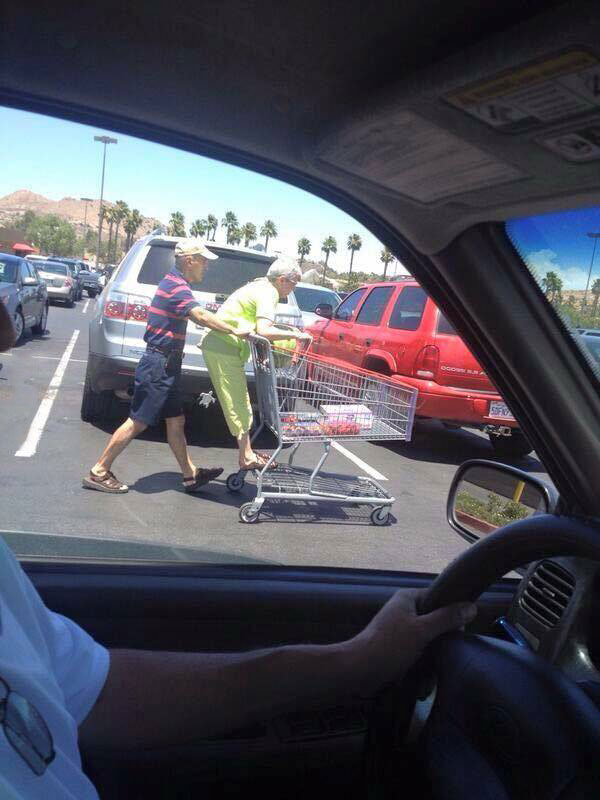 you're never too old to be young, riding the grocery cart