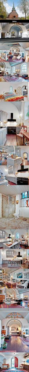 an old church turned into a beautiful home, interior design