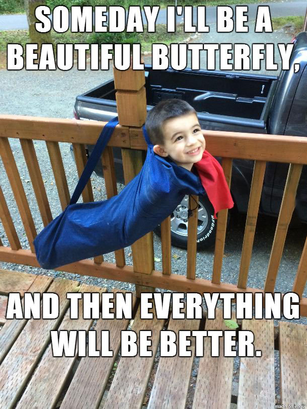 someday i'll be a beautiful butterfly and then everything will be better, kid in folding camping chair bag, meme