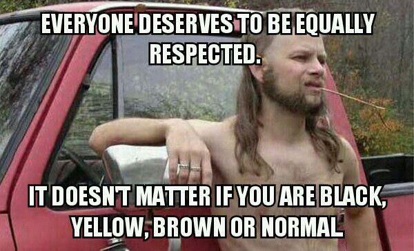 everyone deserves to be equally respected, it doesn't matter if you are black, yellow, brown or normal, meme