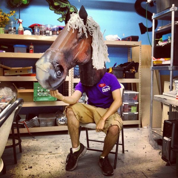 too far or not far enough?, giant horse mask