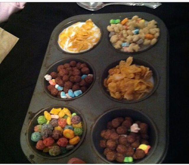 the ultimate cereal bowl, muffin pan with different breakfast cereals in each mould