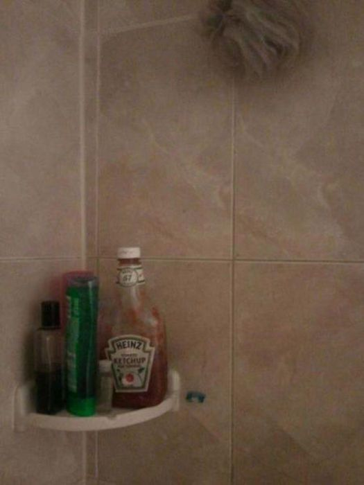 when you find ketchup in your shower
