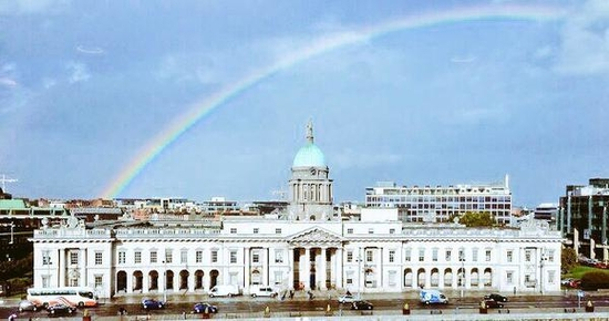 a rainbow over dublin right after gay marriage is popularly voted into law