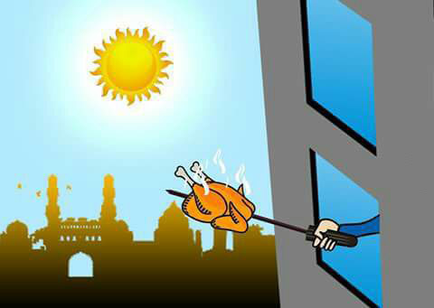 india right now, grilling a chicken out the window