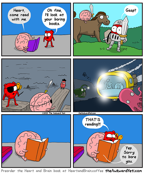 the brain shows the heart what reading is like, comic