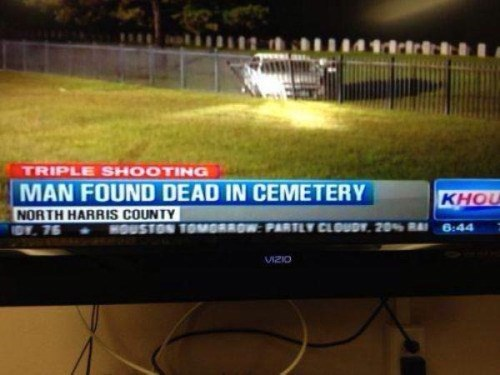 man found dead in cemetary, couldn't be fox news because it's true