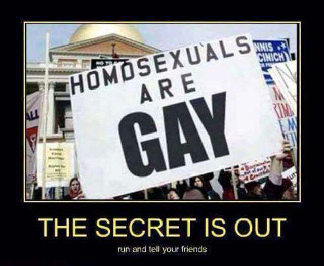 homosexuals are gay, the secret is out, run and tell your friends, motivation
