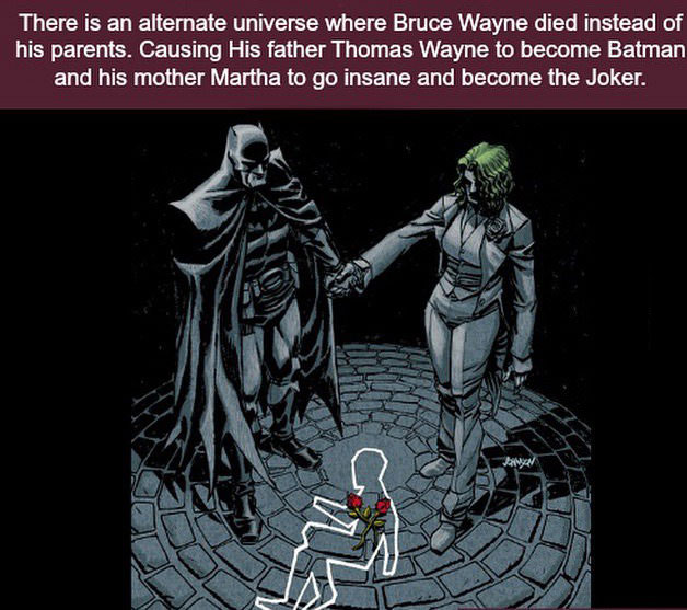 there is an alternate universe where bruce wayne died instead of his parents, causing his father thomas wayne to become batman and his mother martha to go insane and become the joker