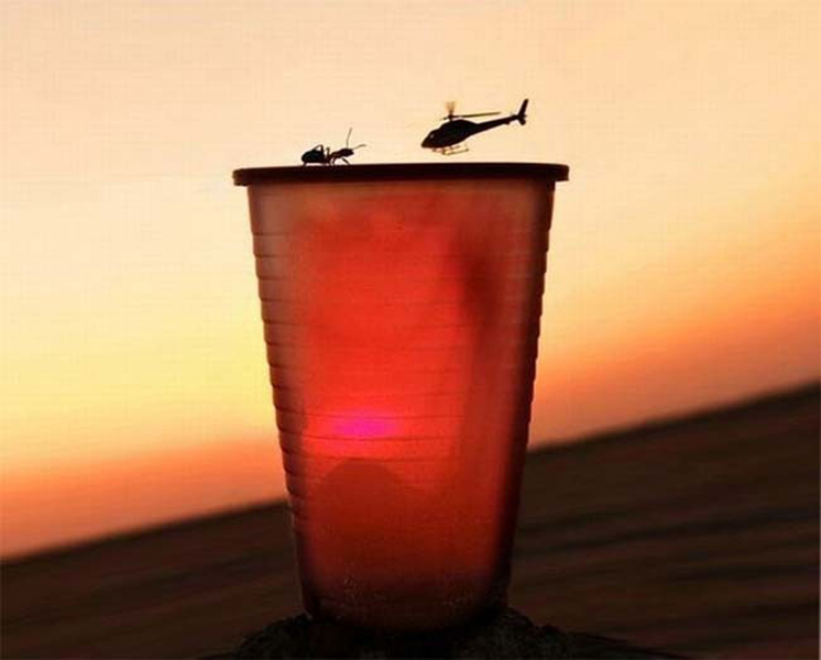a leaked shot from the new ant man movie, helicopter versus ant on cup, perspective