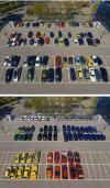 when your parking attendant has ocd, cars parks by colors