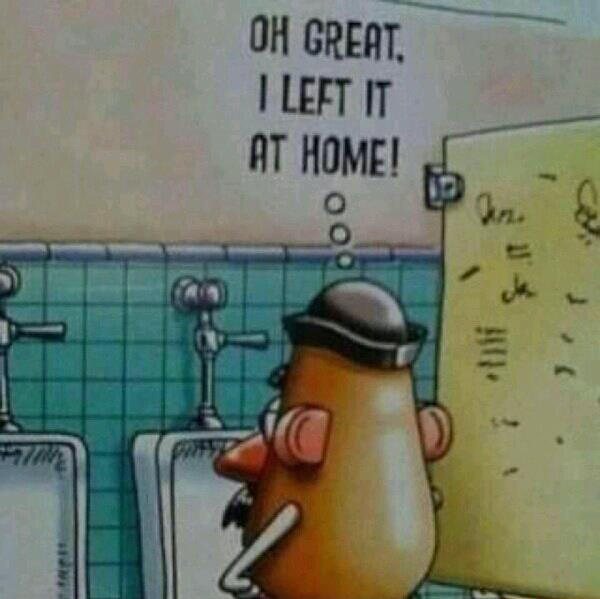 oh great i left it at home, potatoe head forgets his penis, urinal, comic