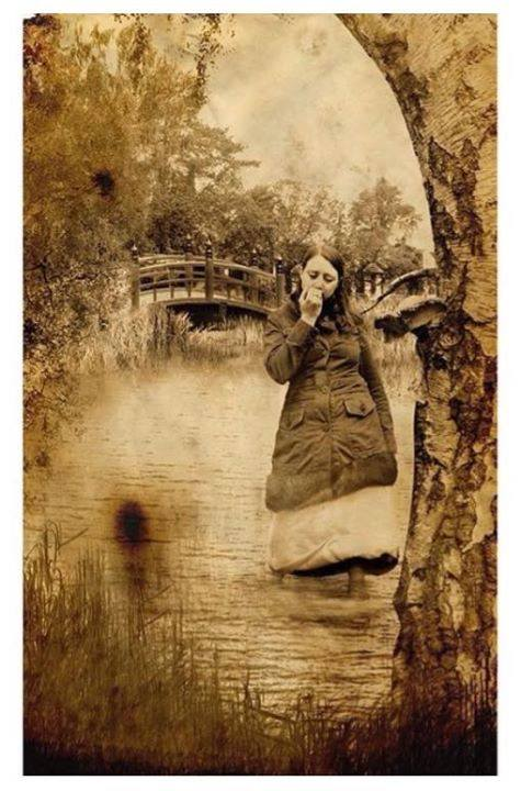 optical illusion photo of face or girl standing in water