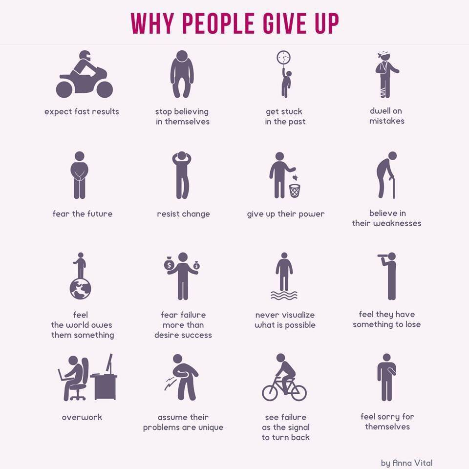 16 reasons why people give up