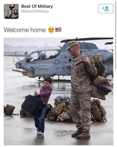 little boy helping his dad carry bags after coming home from war, best of military