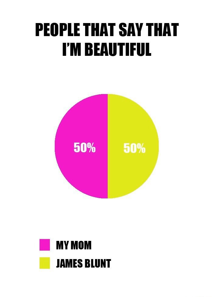 people that say that i'm beautiful, my mom, james blunt, pie chart