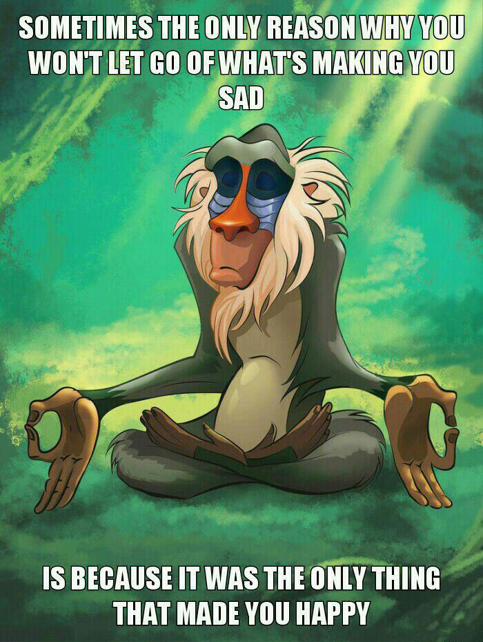 sometimes the only reason why you won't let go of what's making you sad is because it was the only thing that made you happy, mediating rafiki, meme