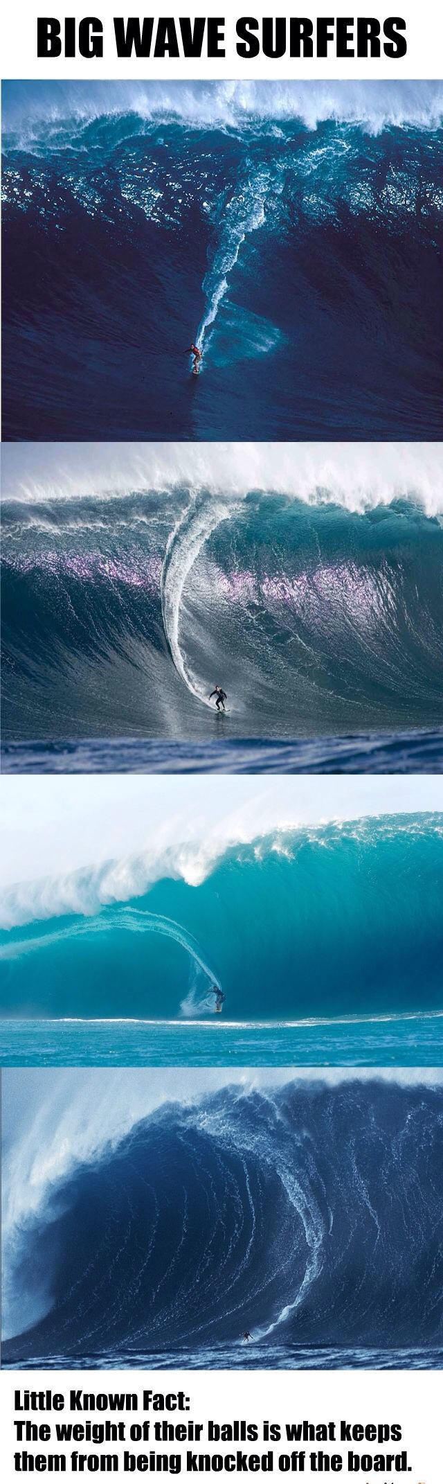big wave surfers, the weight of their balls is what keeps them from being knocked off the board