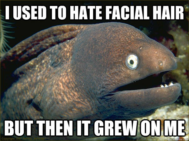 i used to hate facial hair, but then it grew on me, bad joke eel, meme