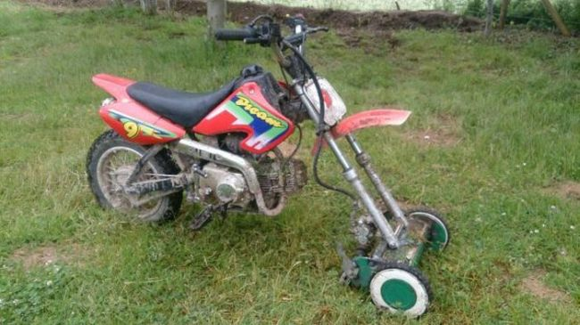 riding motorbike lawn mower, wtf