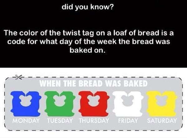 did you know that the color of the twist tag on a loaf of bread is a code for what day of the week the bread was baked on, when the bread was baked