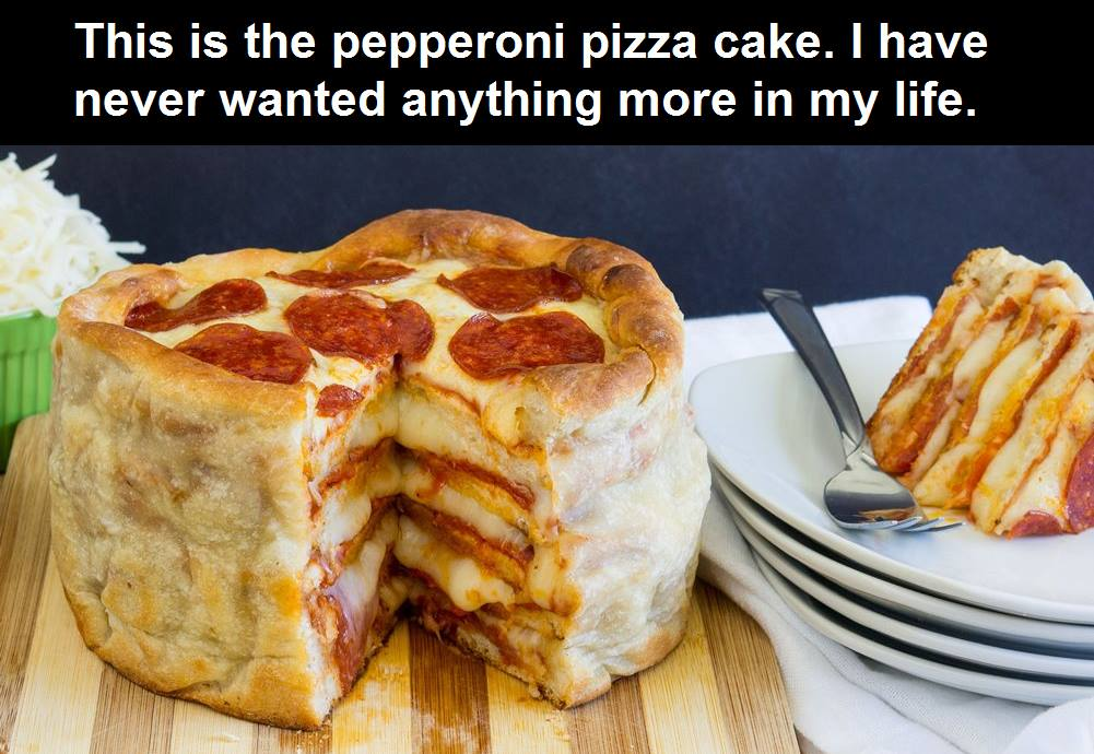 this is the pepperoni pizza cake, i have never wanted anything more in my life