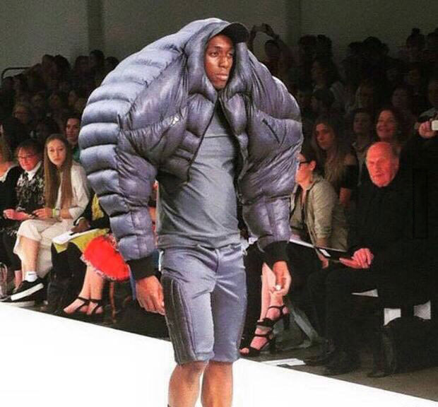 ultra shoulder padded jacket at a fashion show, poorly dressed, wtf