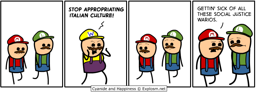 stop appropriating italian culture, getting sick of all these social justice warios, cyanide and happiness, comic