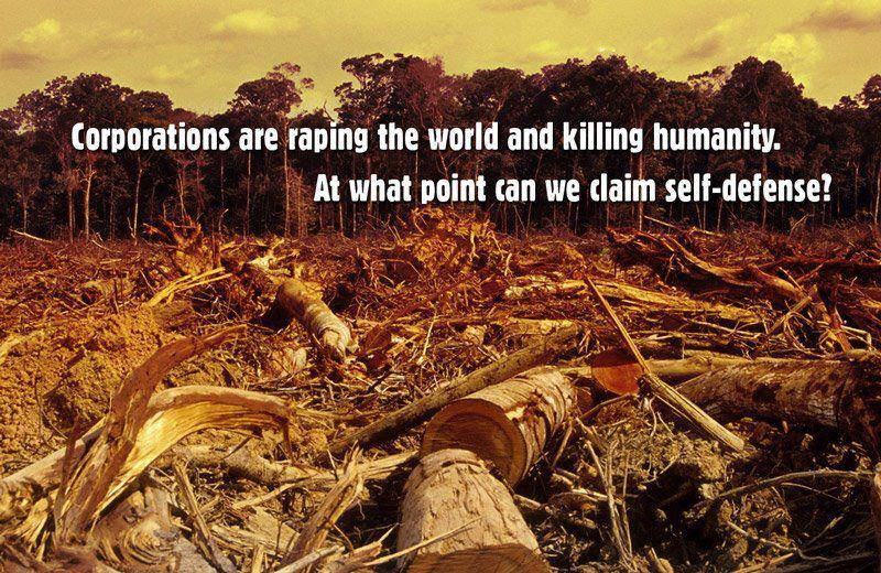 corporations are raping the world and killing humanity, at what point can we claim self defence?