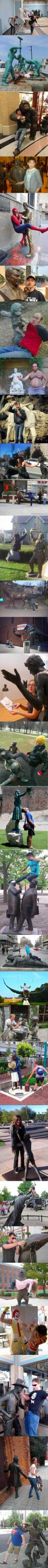 people making art with statues, hacked irl, lol