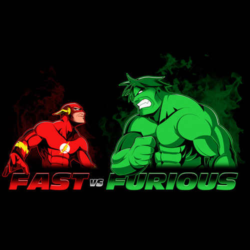 fast vs furious, the flash versus the hulk