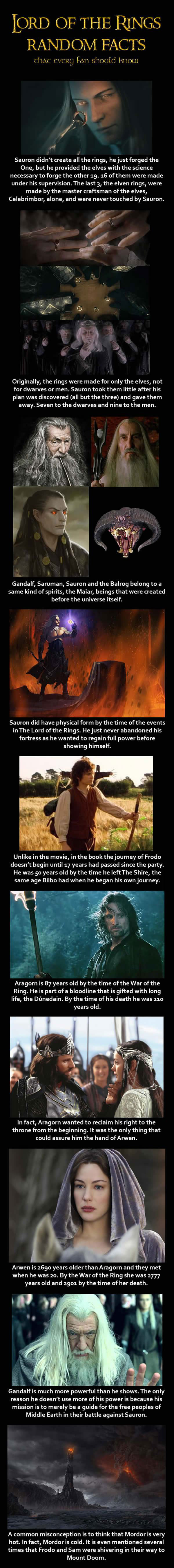lord of the rings random facts
