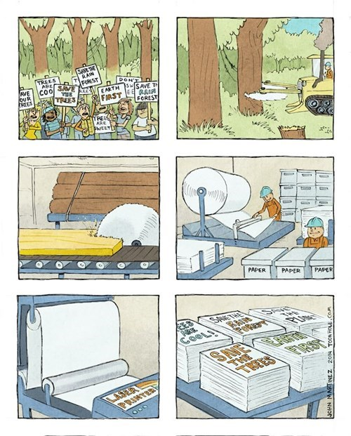 printing save the trees on paper, human logic