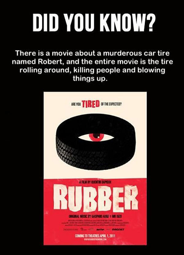 there is a movie about a murderous car tire named robert, and the entire movie is the tire rolling around killing people and blowing things up, did you know, wtf
