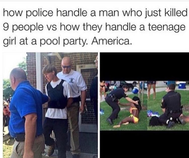 how people handle a man who just killed 9 people vs how they handle a teenage girl at a pool party, america